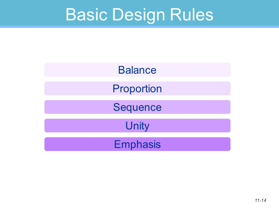 11-14 Basic Design Rules Balance Proportion Sequence Unity Emphasis
