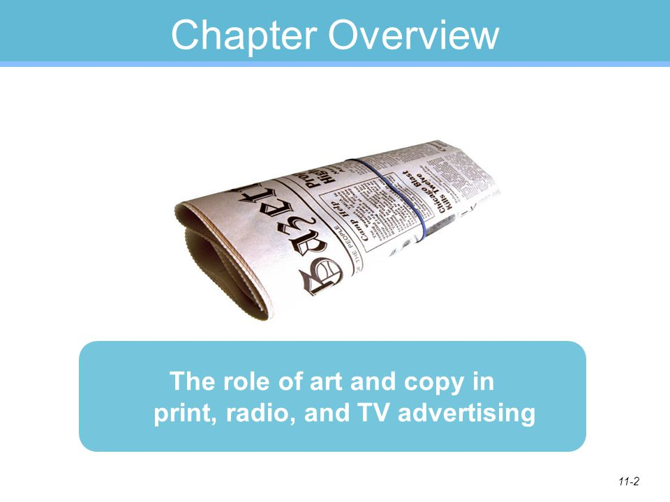 11-2 Chapter Overview The role of art and copy in print, radio, and TV advertising