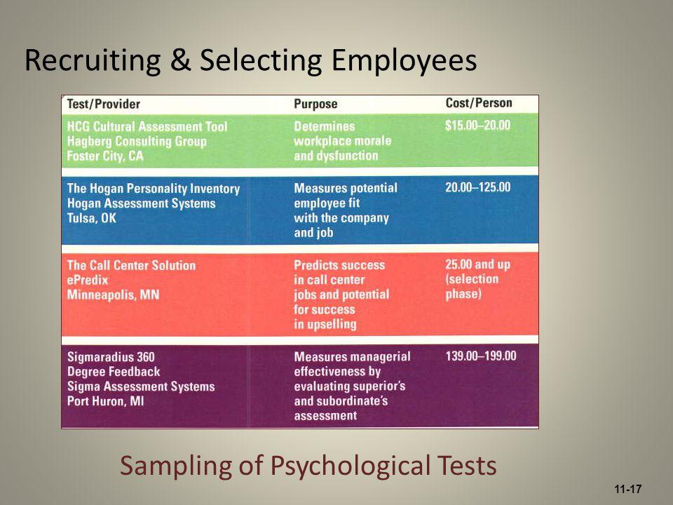 11-17 Recruiting & Selecting Employees Sampling of Psychological Tests