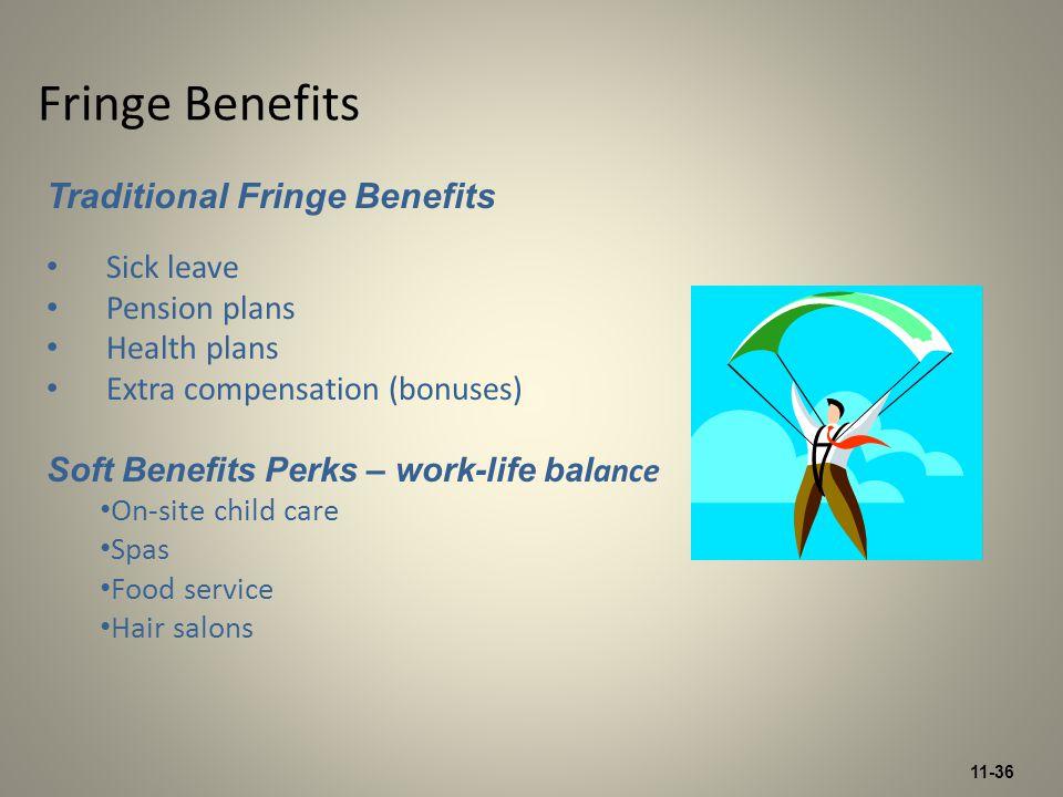 11-36 Fringe Benefits Traditional Fringe Benefits Sick leave Pension plans Health plans Extra compensation (bonuses) Soft Benefits Perks – work-life b