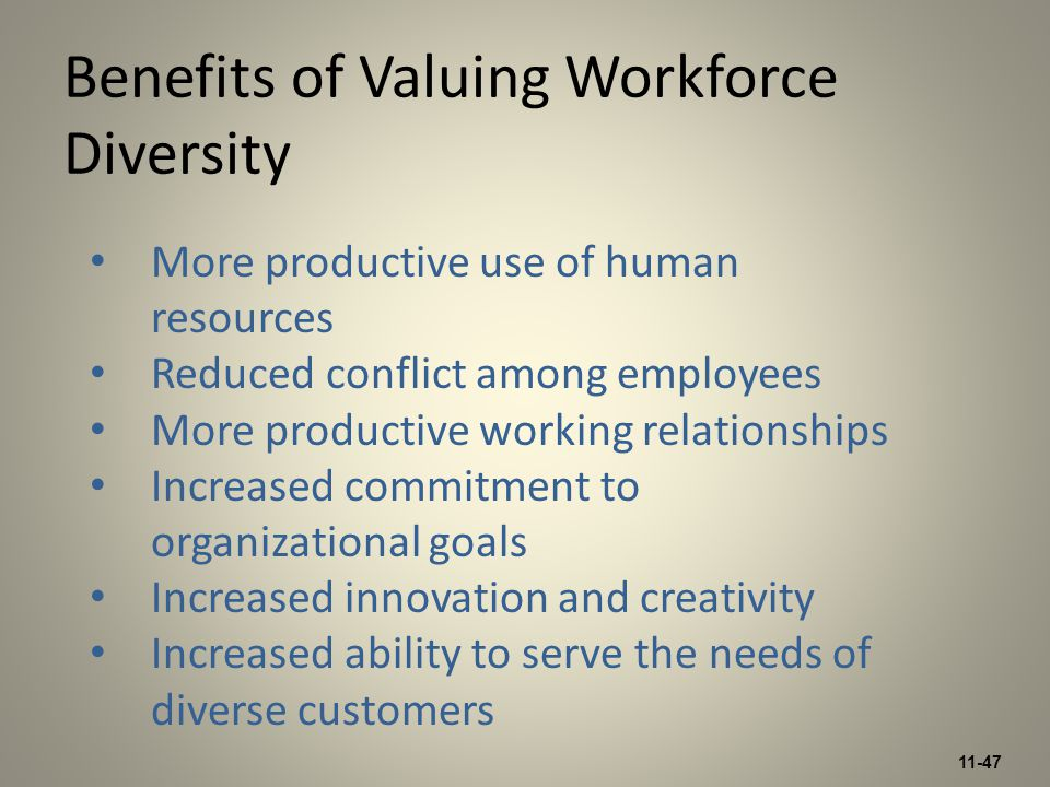 11-47 Benefits of Valuing Workforce Diversity More productive use of human resources Reduced conflict among employees More productive working relationships Increased commitment to organizational goals Increased innovation and creativity Increased ability to serve the needs of diverse customers