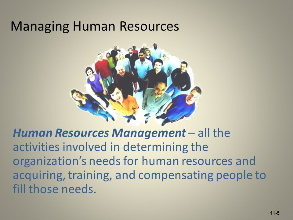 11-5 Managing Human Resources Human Resources Management – all the activities involved in determining the organization's needs for human resources and acquiring, training, and compensating people to fill those needs.