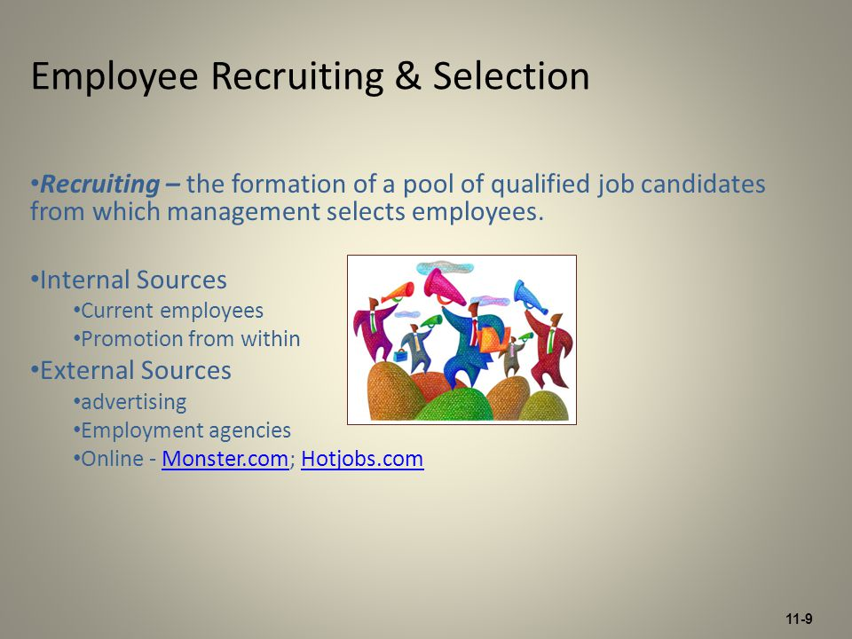 11-10 Selection – the process of collecting information about applicants and using information to make hiring decisions.