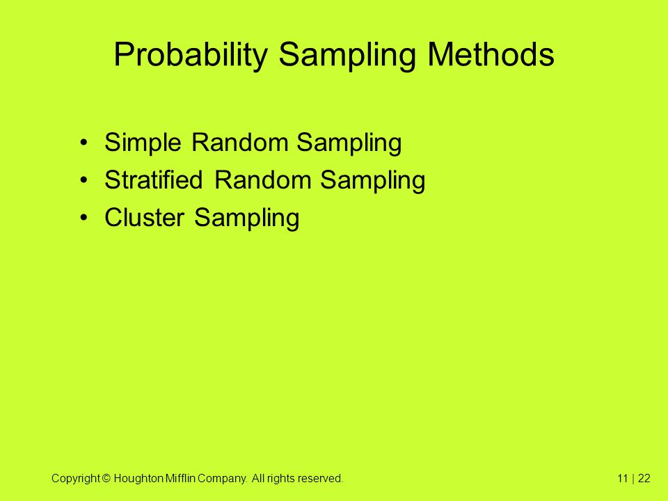 Copyright © Houghton Mifflin Company. All rights reserved.11 | 22 Probability Sampling Methods Simple Random Sampling Stratified Random Sampling Clust