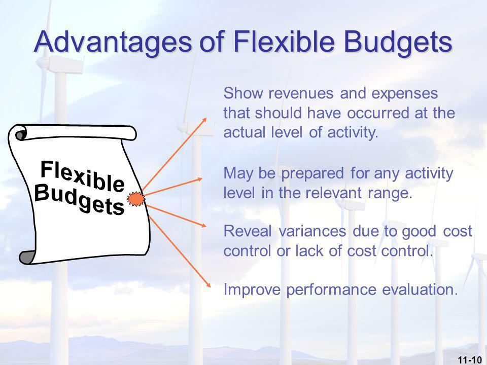 11-10 Advantages of Flexible Budgets Improve performance evaluation. May be prepared for any activity level in the relevant range. Show revenues and e