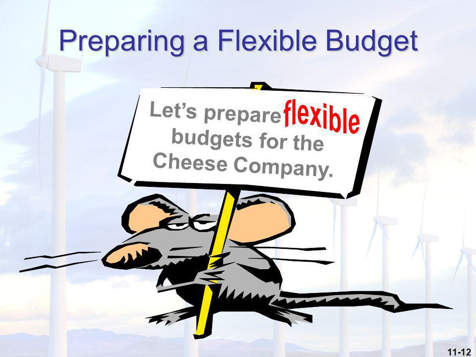 11-12 Preparing a Flexible Budget Let's prepare budgets for the Cheese Company.