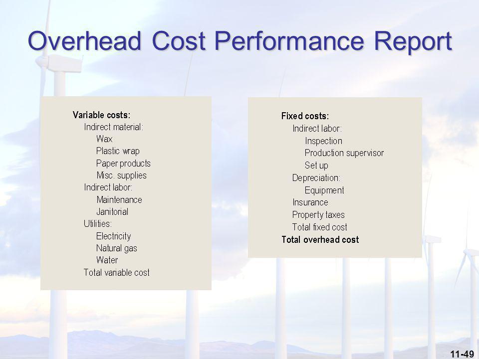 11-49 Overhead Cost Performance Report