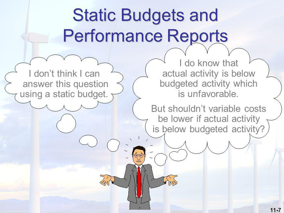 11-7 I don't think I can answer this question using a static budget. I do know that actual activity is below budgeted activity which is unfavorable. B