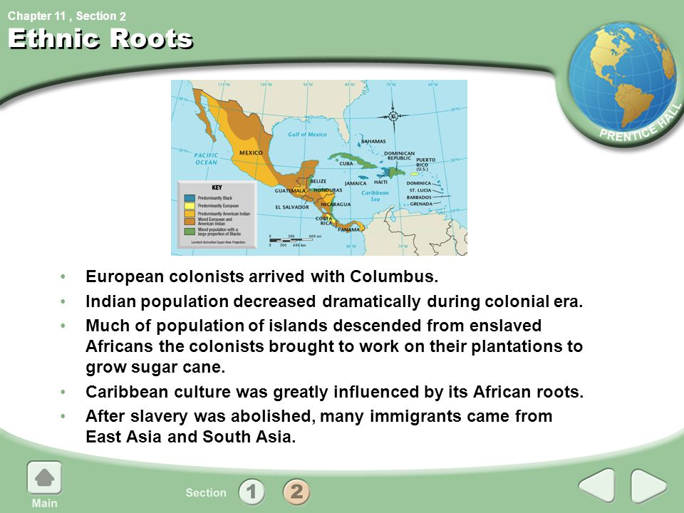 Chapter 11, Section 2 Ethnic Roots European colonists arrived with Columbus. Indian population decreased dramatically during colonial era. Much of pop
