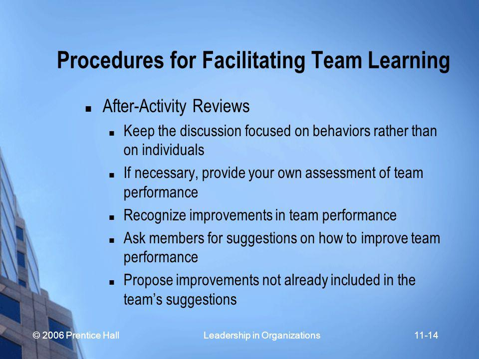 © 2006 Prentice Hall Leadership in Organizations11-14 Procedures for Facilitating Team Learning After-Activity Reviews Keep the discussion focused on behaviors rather than on individuals If necessary, provide your own assessment of team performance Recognize improvements in team performance Ask members for suggestions on how to improve team performance Propose improvements not already included in the team's suggestions