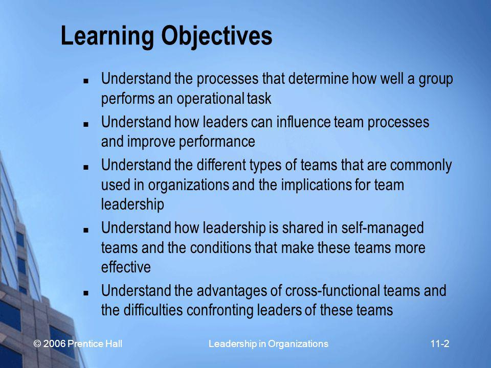 © 2006 Prentice Hall Leadership in Organizations11-3 Learning Objectives Understand procedures to facilitate team learning and build trust and cooperation Understand why some groups make better decisions than others Understand the primary leadership functions in decision groups Understand procedures for leading successful meetings