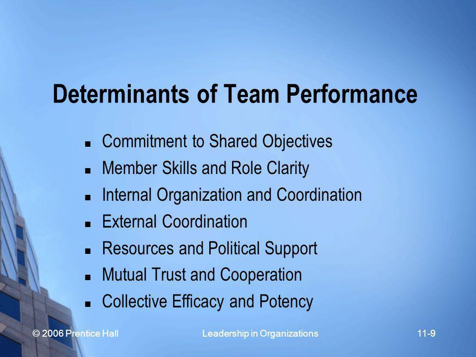 © 2006 Prentice Hall Leadership in Organizations11-10 Key Performance Determinants