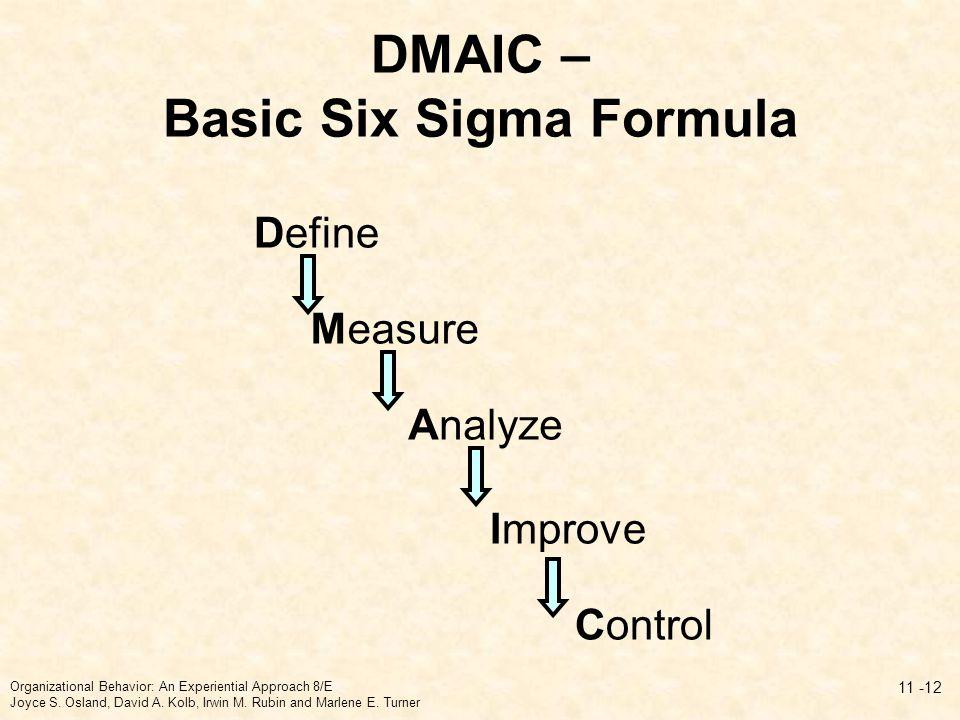 DMAIC – Basic Six Sigma Formula 11 -12 Define Measure Improve Control Analyze Organizational Behavior: An Experiential Approach 8/E Joyce S.