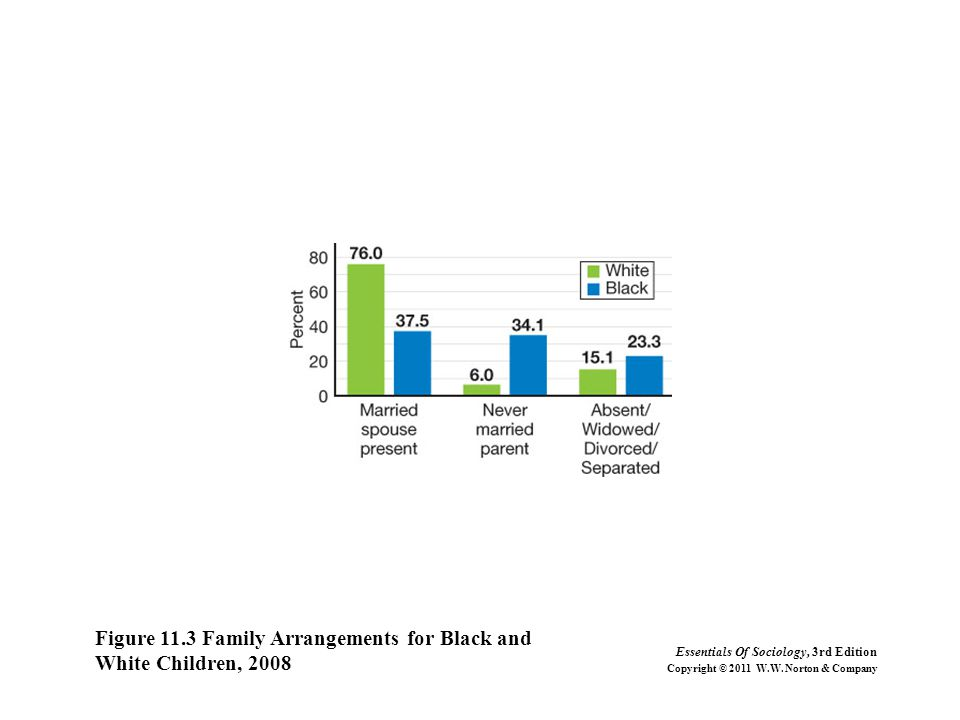 Figure 11.3 Family Arrangements for Black and White Children, 2008 Essentials Of Sociology, 3rd Edition Copyright © 2011 W.W.