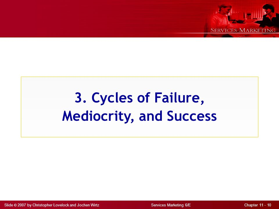Slide © 2007 by Christopher Lovelock and Jochen Wirtz Services Marketing 6/E Chapter 11 - 10 3. Cycles of Failure, Mediocrity, and Success