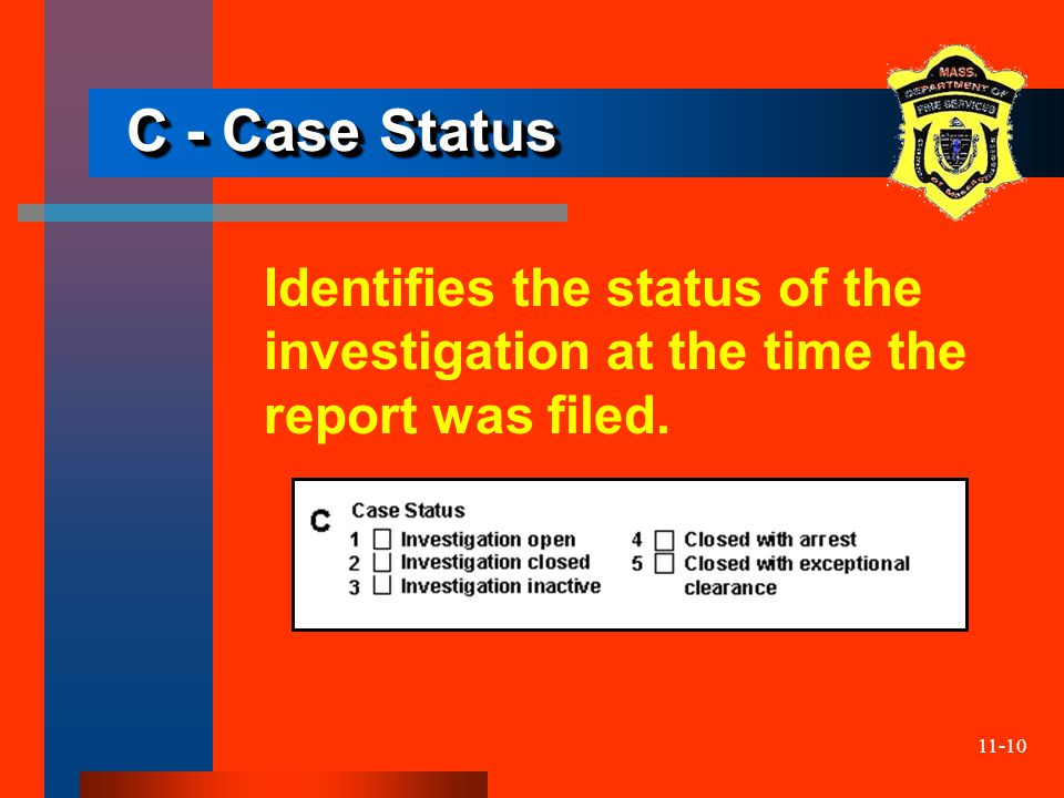 11-10 C - Case Status Identifies the status of the investigation at the time the report was filed.