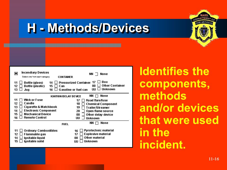 11-16 H - Methods/Devices Identifies the components, methods and/or devices that were used in the incident.