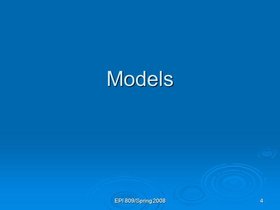 EPI 809/Spring 200835 Population & Sample Regression Models Unknown Relationship Population Random Sample