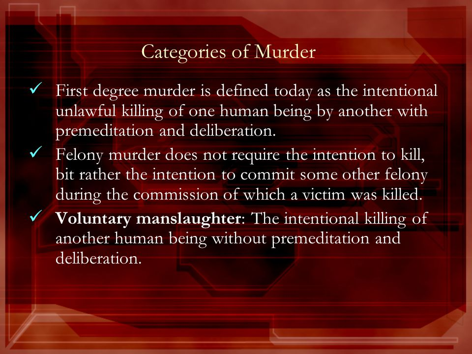 Categories of Murder First degree murder is defined today as the intentional unlawful killing of one human being by another with premeditation and deliberation.