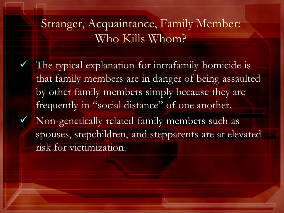 Stranger, Acquaintance, Family Member: Who Kills Whom.