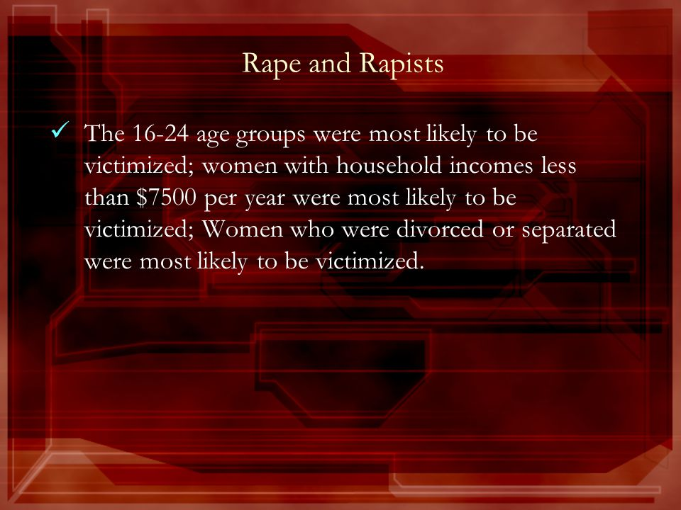 Rape and Rapists The 16-24 age groups were most likely to be victimized; women with household incomes less than $7500 per year were most likely to be victimized; Women who were divorced or separated were most likely to be victimized.