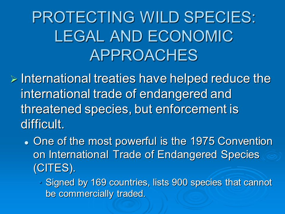 PROTECTING WILD SPECIES: LEGAL AND ECONOMIC APPROACHES  International treaties have helped reduce the international trade of endangered and threatened species, but enforcement is difficult.