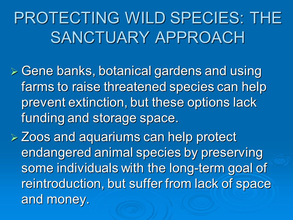 PROTECTING WILD SPECIES: THE SANCTUARY APPROACH  Gene banks, botanical gardens and using farms to raise threatened species can help prevent extinction, but these options lack funding and storage space.
