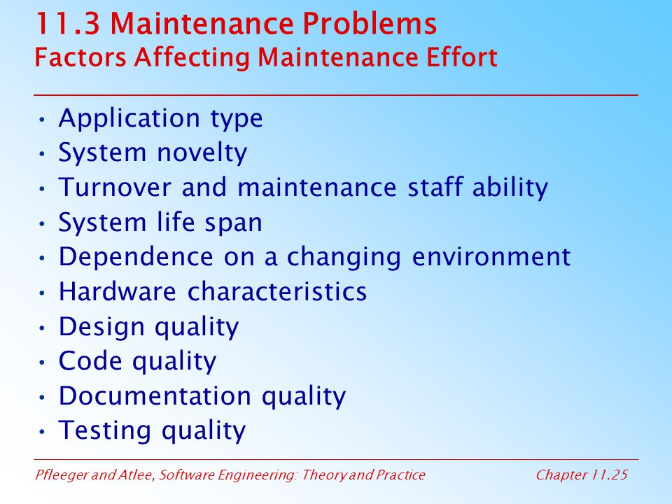 Pfleeger and Atlee, Software Engineering: Theory and PracticeChapter 11.25 11.3 Maintenance Problems Factors Affecting Maintenance Effort Application