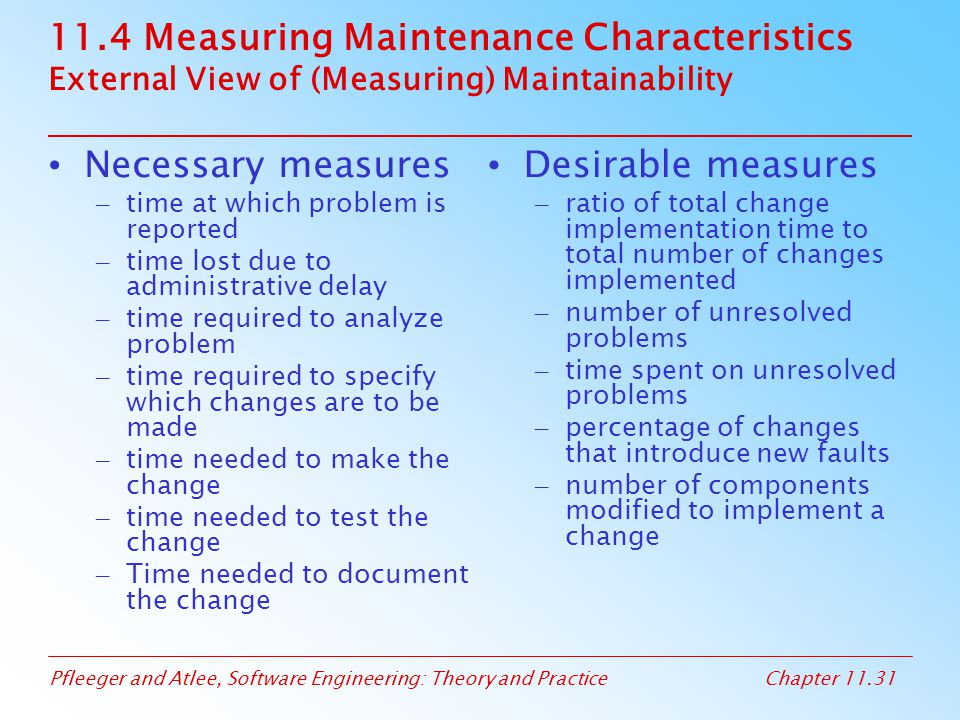 Pfleeger and Atlee, Software Engineering: Theory and PracticeChapter 11.31 11.4 Measuring Maintenance Characteristics External View of (Measuring) Mai