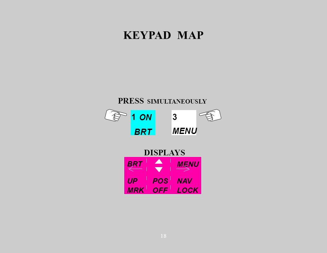 18 KEYPAD MAP BRT MENU 1 ON BRT PRESS SIMULTANEOUSLY 3 MENU DISPLAYS UP NAV MRK LOCK POS OFF
