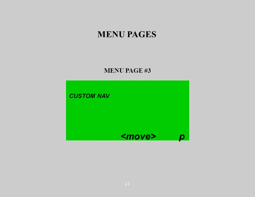21 MENU PAGE #3 MENU PAGES CUSTOM NAV p