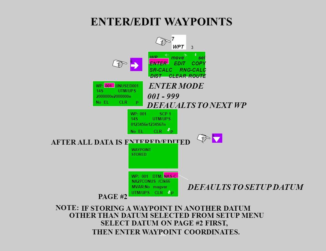 38 3 7 WPT WP SR-CALC DISTCLEARROUTE COPY RNG-CALC movesel 6 ENTEREDIT ENTER/EDIT WAYPOINTS UNUSED001 14S 2000000e2000000n No EL UTM/UPS CLR P WP: 001
