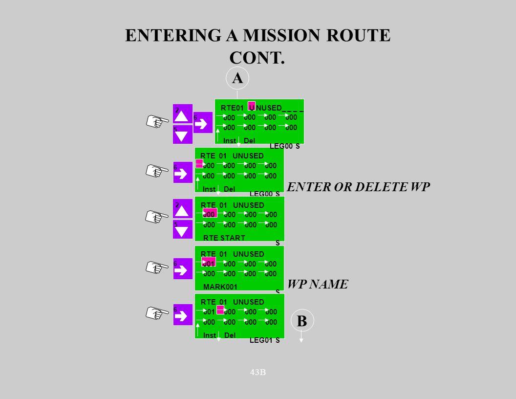 43B ENTERING A MISSION ROUTE S RTE 01 UNUSED 000 A 6 5 CONT. Inst Del LEG00 ENTER OR DELETE WP S RTE 01 UNUSED 000 RTE START 2 S RTE 01 UNUSED 001000