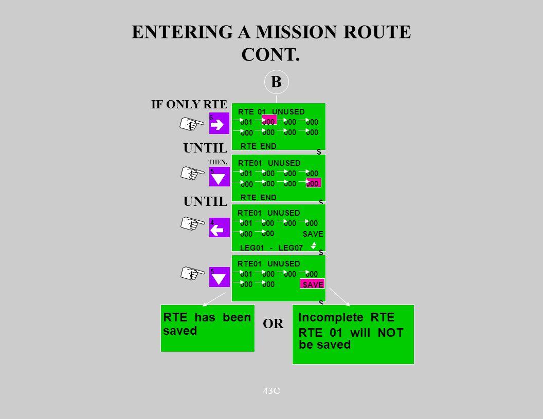 43C ENTERING A MISSION ROUTE B 5 CONT. S RTE01 UNUSED 001000 RTE END UNTIL S RTE01 UNUSED 001000 4 SAVE S RTE01 UNUSED 001000 SAVE LEG01 - LEG07 5 RTE