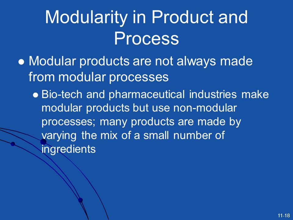 11-18 Modularity in Product and Process Modular products are not always made from modular processes Bio-tech and pharmaceutical industries make modula