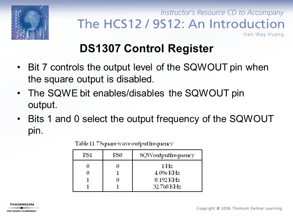 DS1307 Control Register Bit 7 controls the output level of the SQWOUT pin when the square output is disabled.