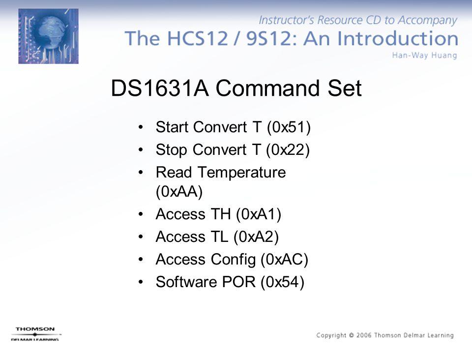 DS1631A Command Set Start Convert T (0x51) Stop Convert T (0x22) Read Temperature (0xAA) Access TH (0xA1) Access TL (0xA2) Access Config (0xAC) Softwa