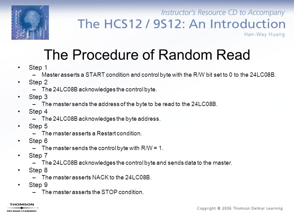 The Procedure of Random Read Step 1 –Master asserts a START condition and control byte with the R/W bit set to 0 to the 24LC08B.