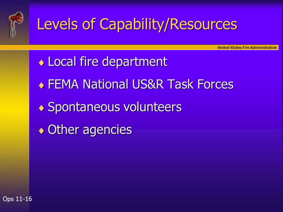 United States Fire Administration Ops 11-16 Levels of Capability/Resources  Local fire department  FEMA National US&R Task Forces  Spontaneous volu