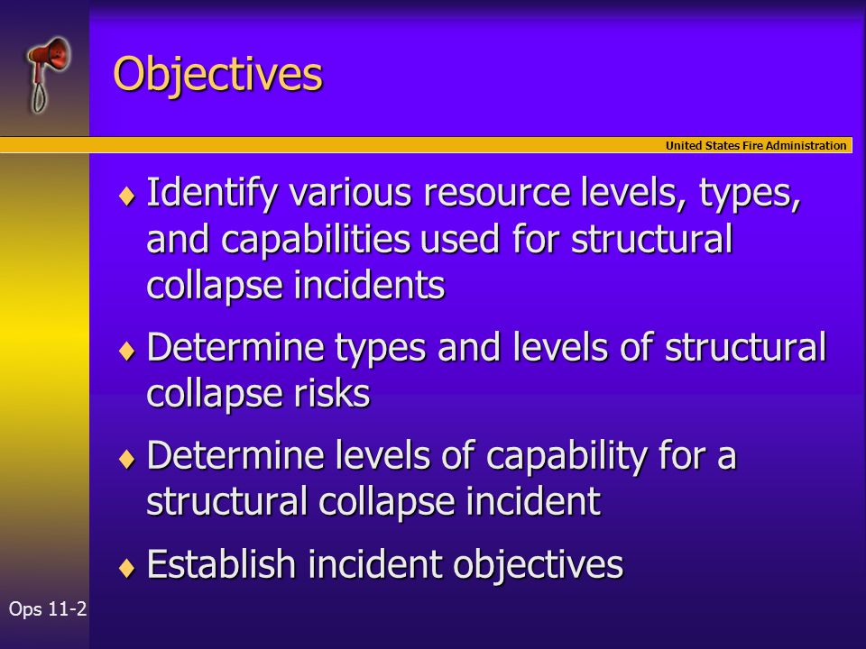United States Fire Administration Ops 11-2 Objectives  Identify various resource levels, types, and capabilities used for structural collapse inciden