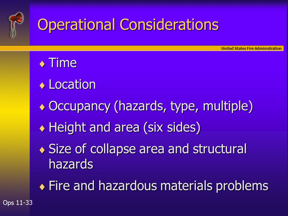 United States Fire Administration Ops 11-33 Operational Considerations  Time  Location  Occupancy (hazards, type, multiple)  Height and area (six