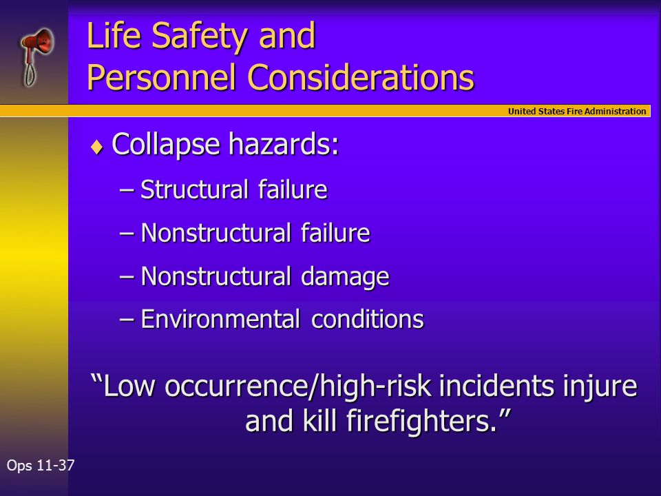 United States Fire Administration Ops 11-37 Life Safety and Personnel Considerations  Collapse hazards: –Structural failure –Nonstructural failure –N