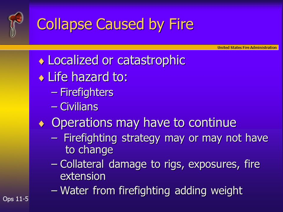 United States Fire Administration Ops 11-5 Collapse Caused by Fire  Localized or catastrophic  Life hazard to: –Firefighters –Civilians  Operations