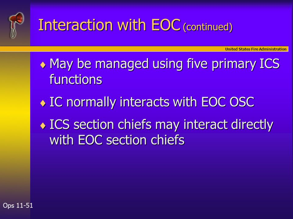 United States Fire Administration Ops 11-51  May be managed using five primary ICS functions  IC normally interacts with EOC OSC  ICS section chief