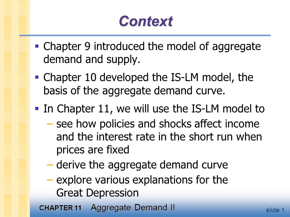 CHAPTER 11 Aggregate Demand II slide 1 Context  Chapter 9 introduced the model of aggregate demand and supply.  Chapter 10 developed the IS-LM model