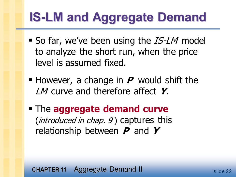 CHAPTER 11 Aggregate Demand II slide 22 IS-LM and Aggregate Demand  So far, we've been using the IS-LM model to analyze the short run, when the price