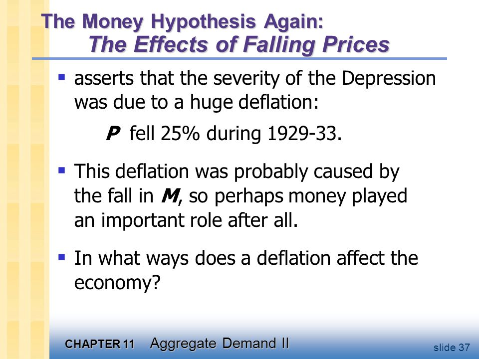 CHAPTER 11 Aggregate Demand II slide 37 The Money Hypothesis Again: The Effects of Falling Prices  asserts that the severity of the Depression was du