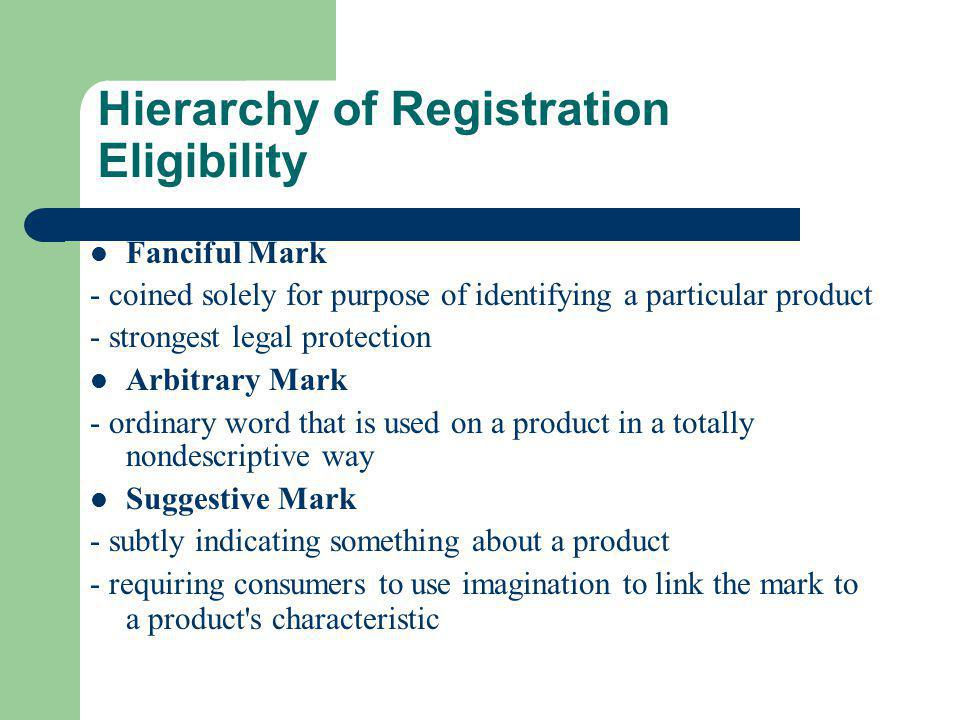 Hierarchy of Registration Eligibility Fanciful Mark - coined solely for purpose of identifying a particular product - strongest legal protection Arbit