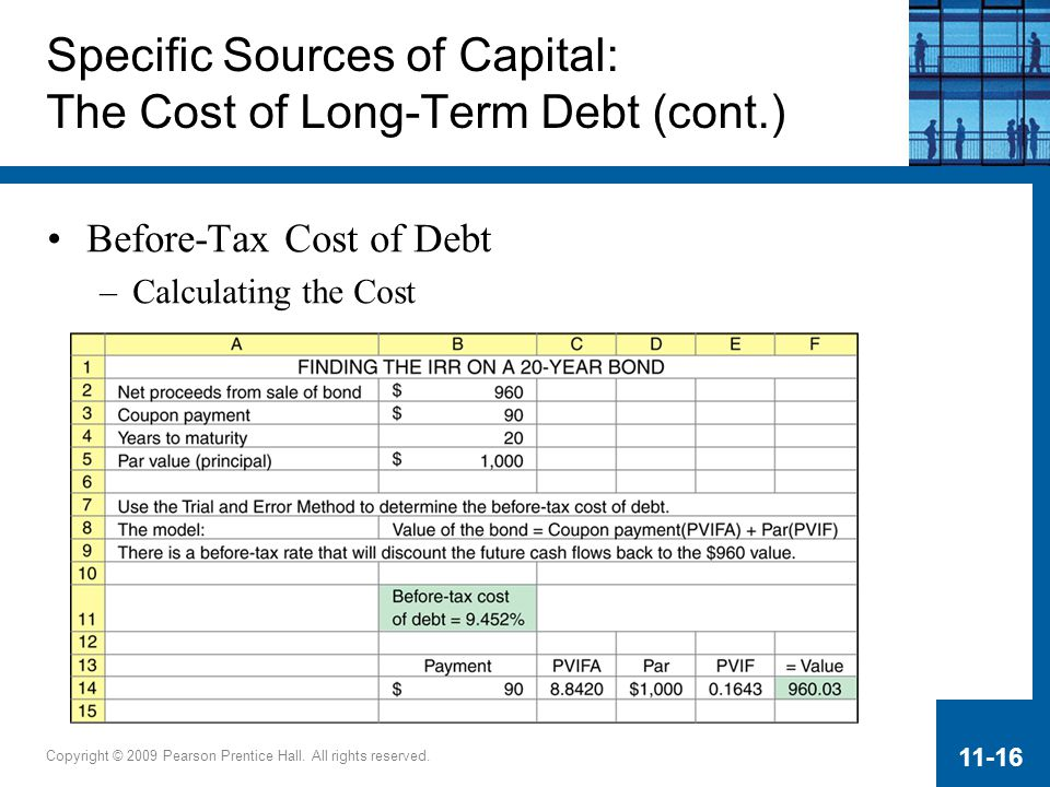 Copyright © 2009 Pearson Prentice Hall. All rights reserved. 11-16 Before-Tax Cost of Debt –Calculating the Cost Specific Sources of Capital: The Cost