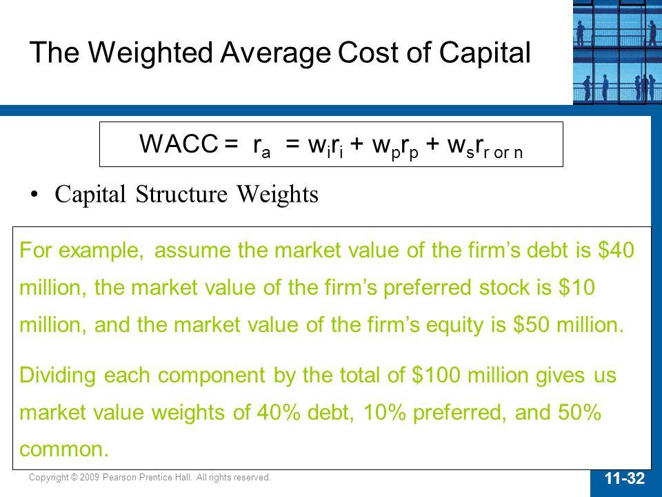 Copyright © 2009 Pearson Prentice Hall. All rights reserved. 11-32 WACC = r a = w i r i + w p r p + w s r r or n The Weighted Average Cost of Capital